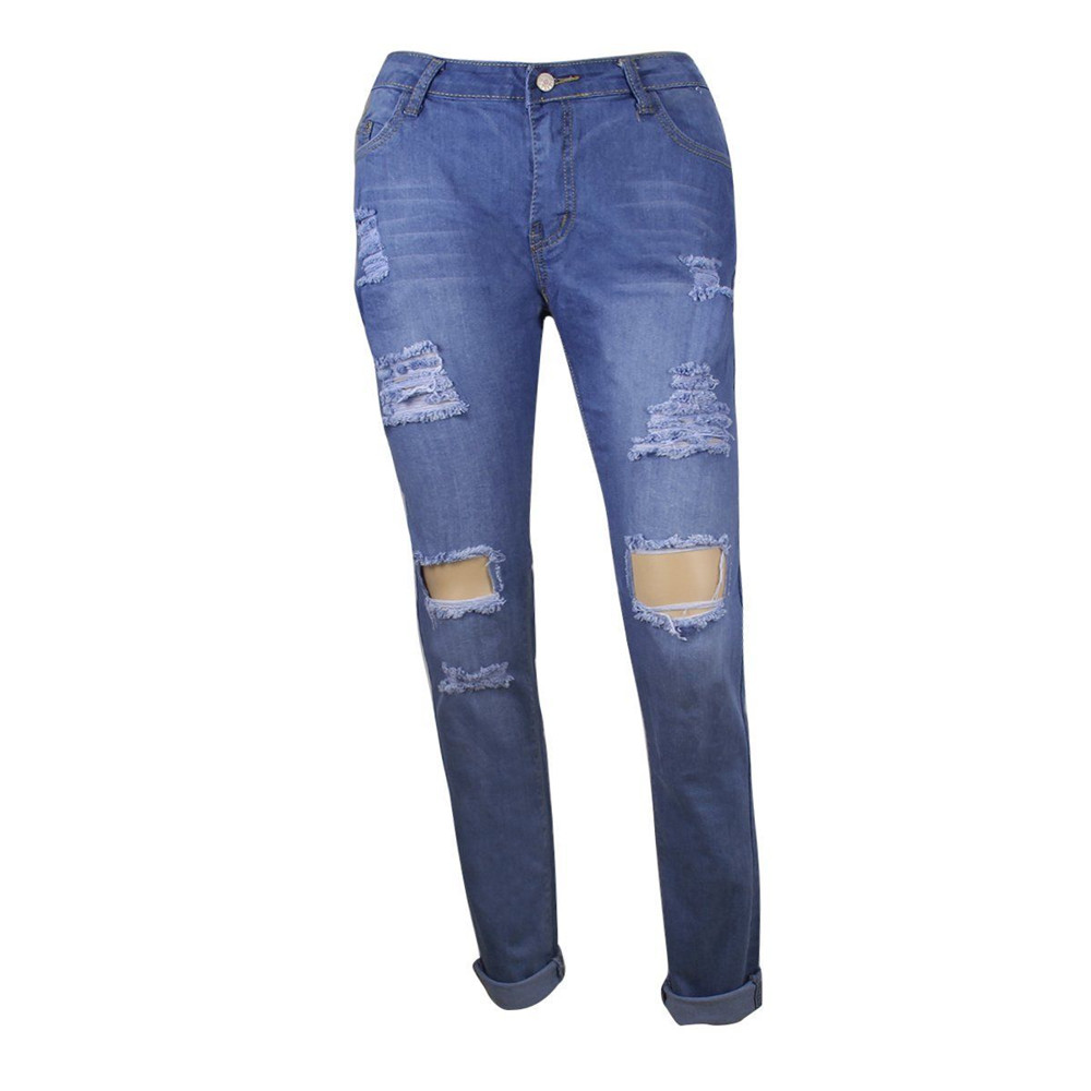 Close-fitting Pants Sexy Low Waisted Skinny Ripped Denim Pants Slim Pencil Jeans Trousers Woman Denim Jeans L453