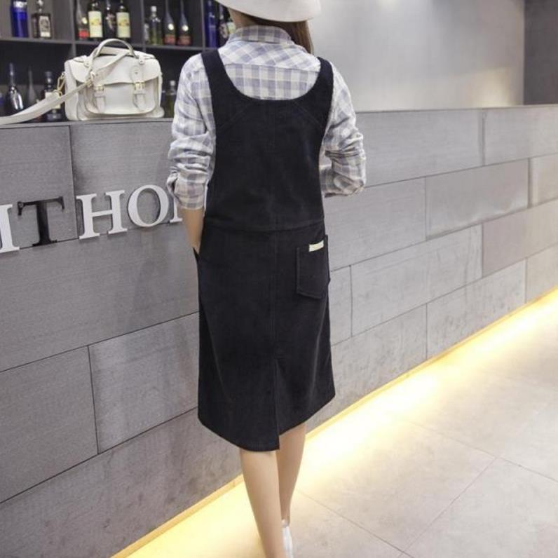 8f05d5dec1 Spring Korean Fashion Loose Women Strap Corduroy Sleeveless Pink Dress  Autumn Vintage Cute Casual Female Overalls Dresses-in Dresses from Women s  Clothing ...