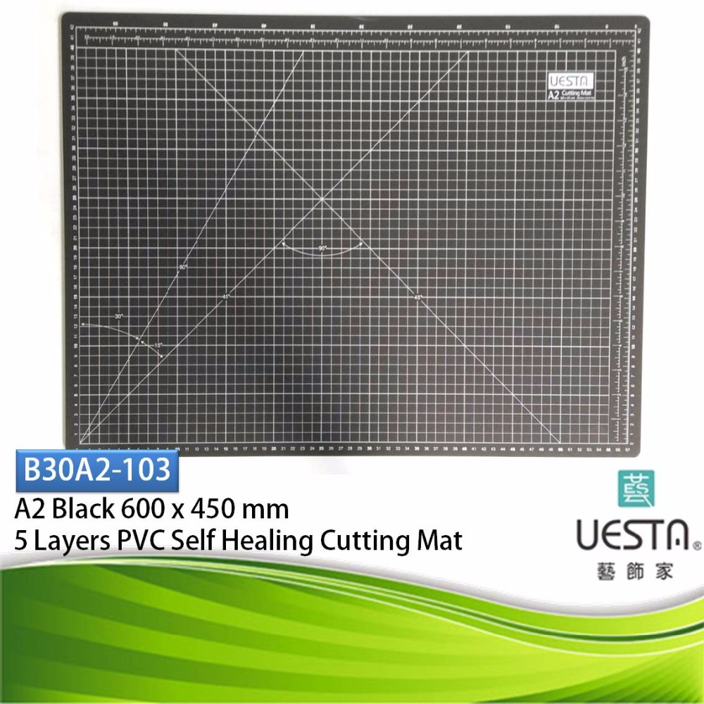Black Color Patchwork 3.0 mm Rectangle Self Healing 5 Layers PVC Sewing Cutting Mat A2 60 by 45 cm 24 by 18 inch