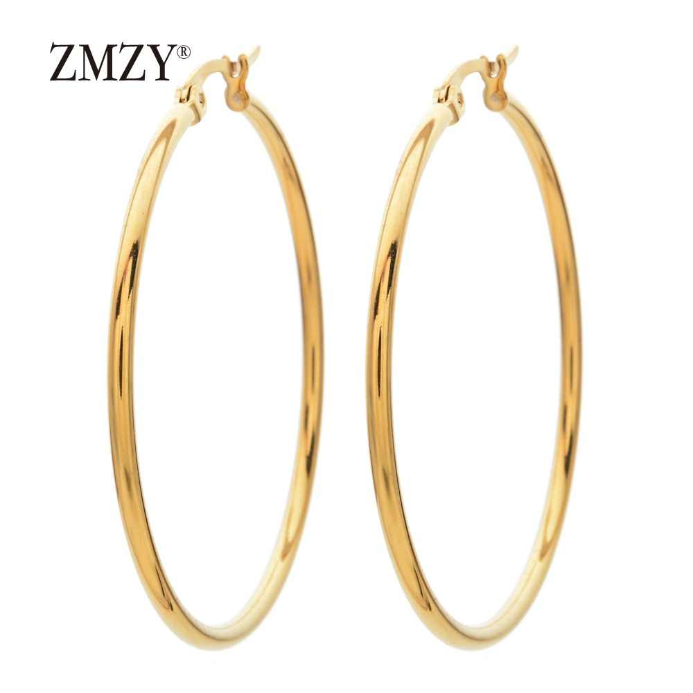 ZMZY Fashion Simple Geometric Stainless Steel Gold Silver Hoop Earring For Women Hot Sale Punk Statement Earrings Wholesale