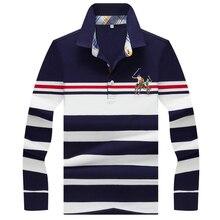 Outono inverno nova camisa polo de alta qualidade da marca de algodão polo masculino negócio casual listrado sólida camisa polo