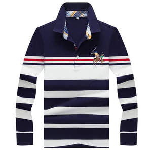 Image 1 - Outono inverno nova camisa polo de alta qualidade da marca de algodão polo masculino negócio casual listrado sólida camisa polo