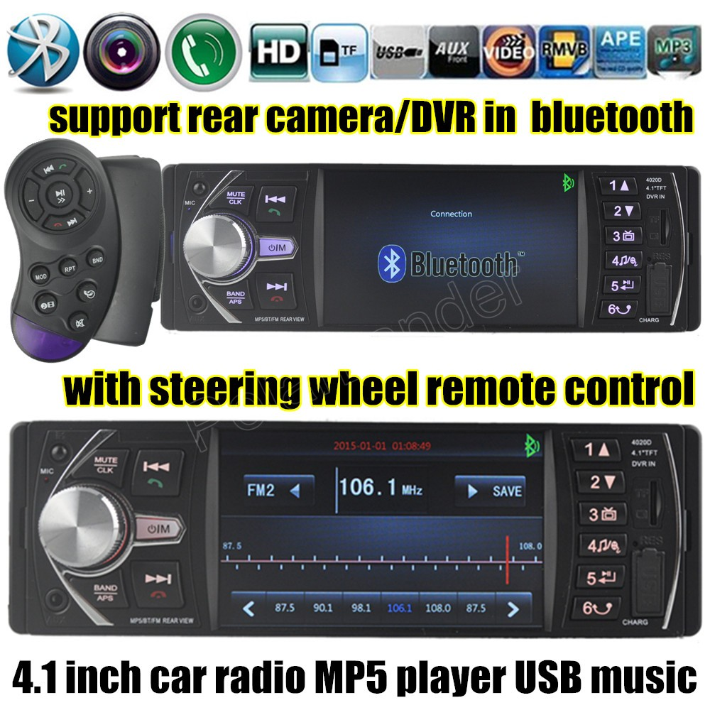 New 4.1 inch Car radio player MP5 bluetooth Support Rear view Camera 12V Car Audio video FM/USB/TF/MMC 1 Din DVR/AUX input 2015 new support rear camera car stereo mp3 mp4 player 12v car audio video mp5 bluetooth hands free usb tft mmc remote control