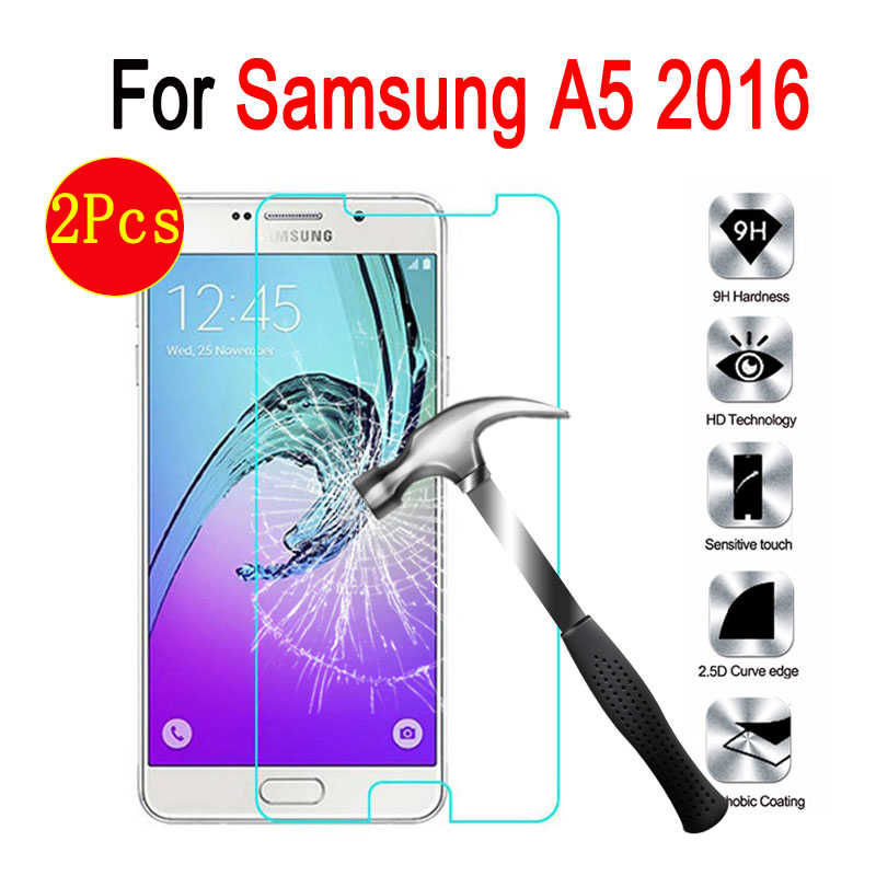 2 pcs pack Tempered Glass For Samsung A5 2016 Screen Protector on Samsung Galaxy A 5 2016 A510 A5100 SM-A510F Protective Case(China)