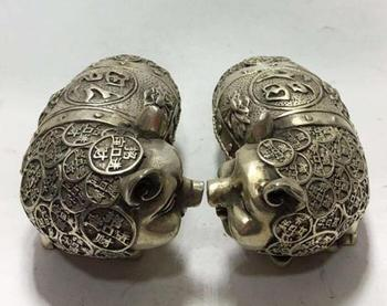 China white copper hand-carved brass money pig A pair