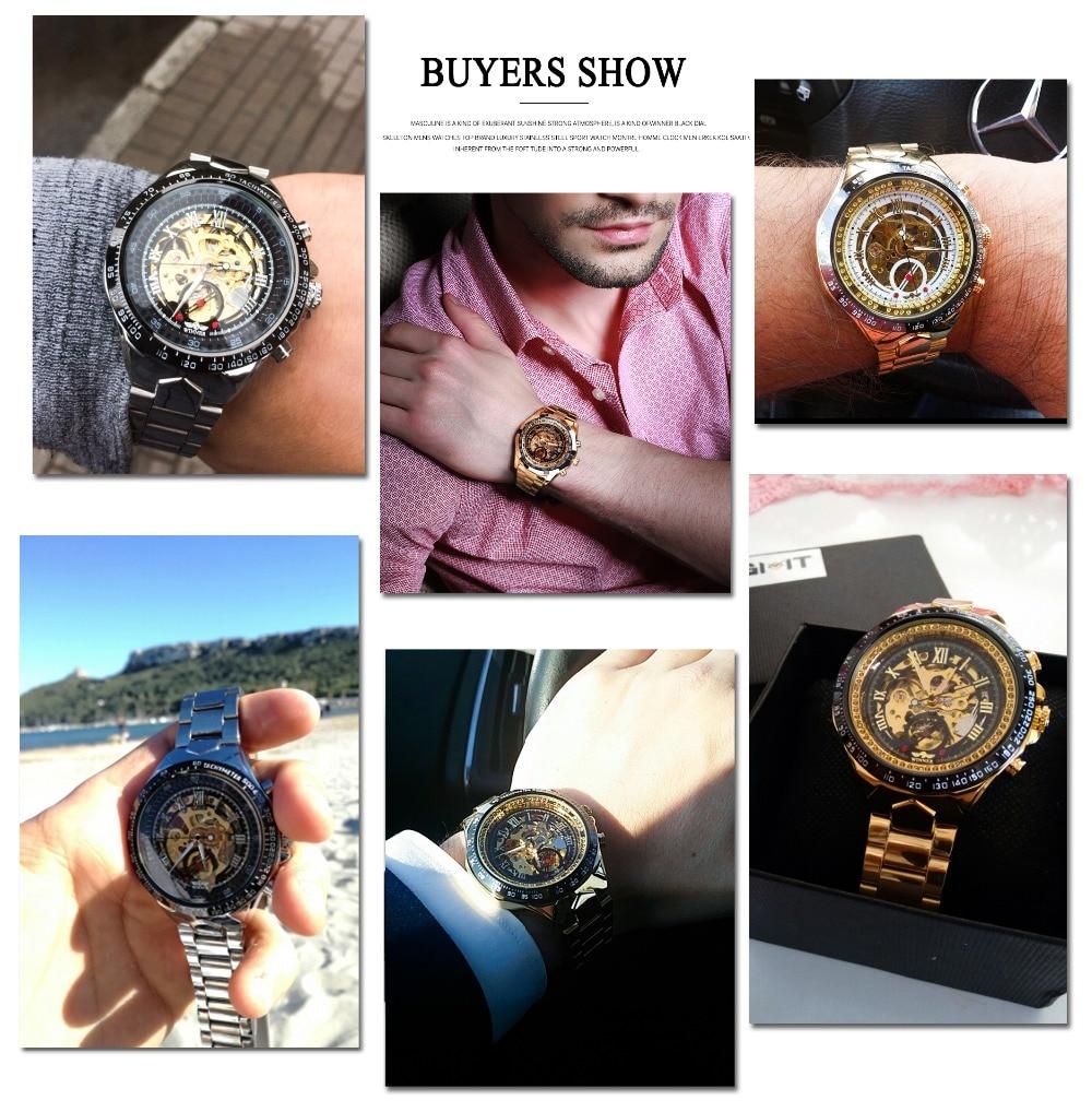Winner New Number Sport Design Bezel Golden Watch Mens Watches Top Brand Luxury Montre Homme Clock Men Automatic Skeleton Watch 13