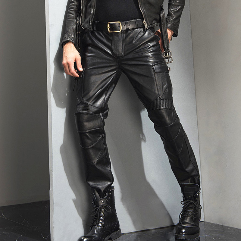 Men's Leather Pant Slim Leather Skinny Biker Pants Motorcycle Punk Rock Pants Slick Smooth Shiny Pencil Pants TJ07