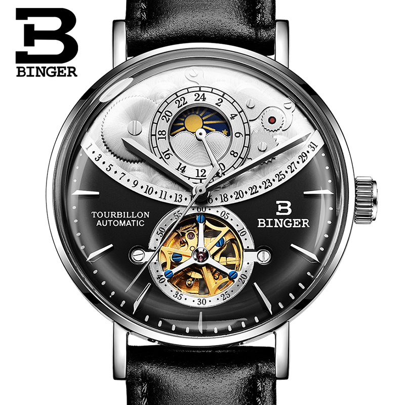 Mens Watches BINGER 2018 Top Luxury Brand Automatic Mechanical Watch Men Full Steel Business Waterproof Fashion Sport Watches jam tangan pria gold original