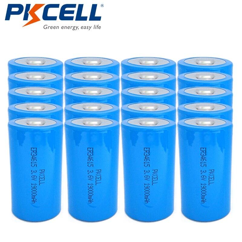 20 x 34615 ER34615 Lithium Batteria 3 6V 19000mah D Size LiSOCl2 Non rechargeable Battery PKCELL