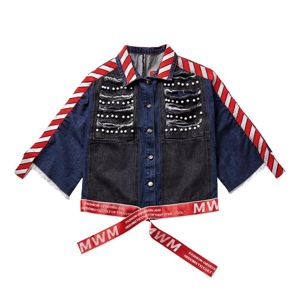 Mode Jean Perles Femelle Navy Hop Blue Vestes Hiver Manches Femmes Veste Rubans Streetwear Automne Chauve Lâche Manteau En Hip souris Denim wqx4BFInX