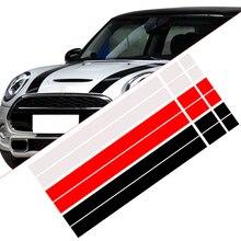 CITALL 2Pcs Vinyl Car Bonnet Stripes Hood Sticker Cover Decal dWm2754536 Fit for MINI Cooper R50 R53 R56 R55 Black/White/Red