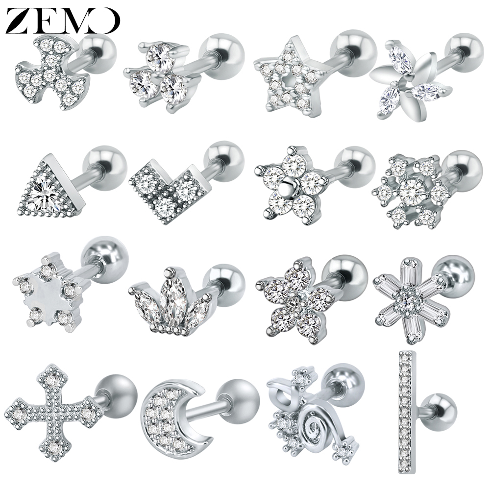 Nose Stud Tragus Cartilage Earring Sterling Silver Cross Nose Ring