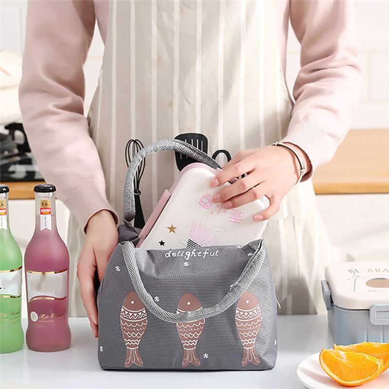 ISHOWTIENDA Portable Lunch Bag New Thermal Insulated Lunch Box Tote Cooler Bag Bento Pouch Lunch Container Food Storage Bags