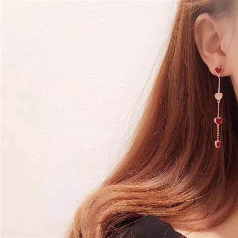 MENGJIQIAO 18 Korean New Fashion Sweet Heart Asymmetric Drop Earrings For Women Elegant Ear Line Temperament Orecchini Brincos 1