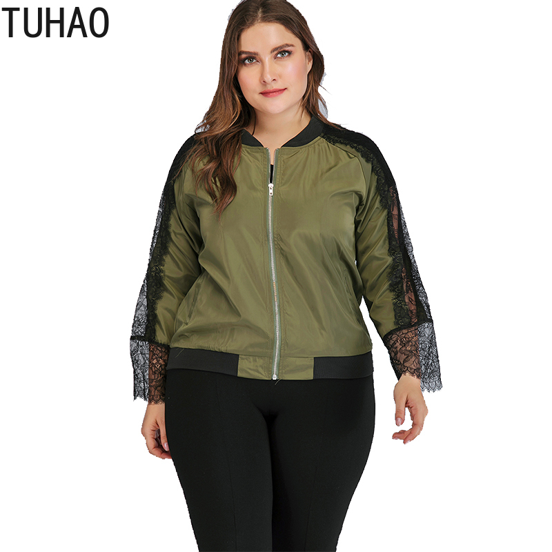 TUHAO 2019 Autumn Plus Size 4XL 3XL Lace Sleeve Windbreaker   Jacket   Women Coats   Basic     Jackets   Bomber Women's Female Outwear LZ10