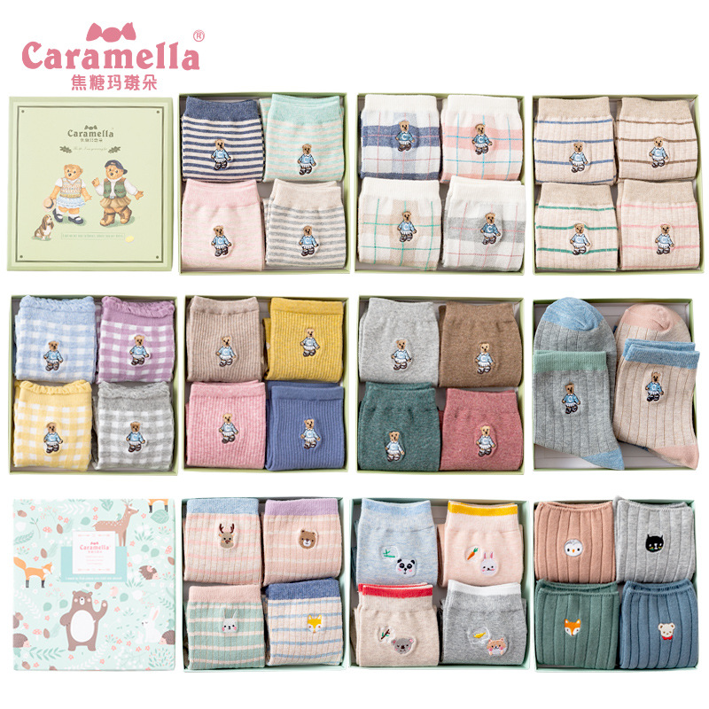 Caramella 2018 4pairs/box Bear Embroidery Animal Cotton Lovely Christmas Warm Cute Cartoon Socks Women Student's Stretch Style