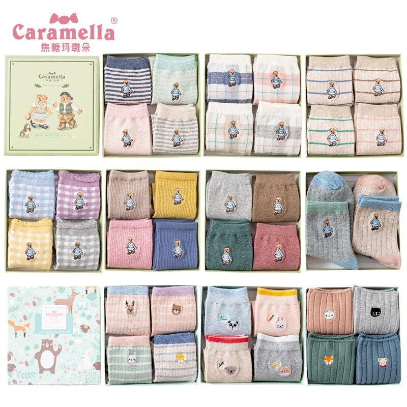 Caramella 2018 4pairs/box Bear Embroidery Animal Cotton Lovely Christmas Warm Cute Cartoon Socks Women Student's Stretch Style