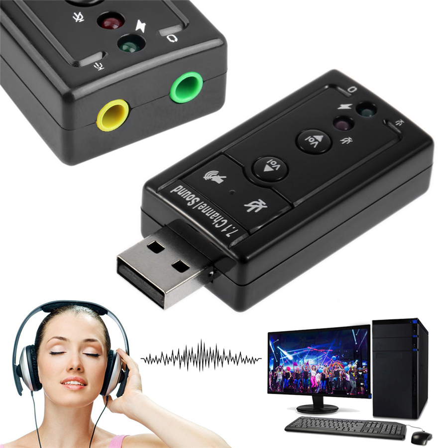 Audio Adapter Sound Card 7.1 Channel 3D Stereo For PC Laptop PS4 Mic Speaker