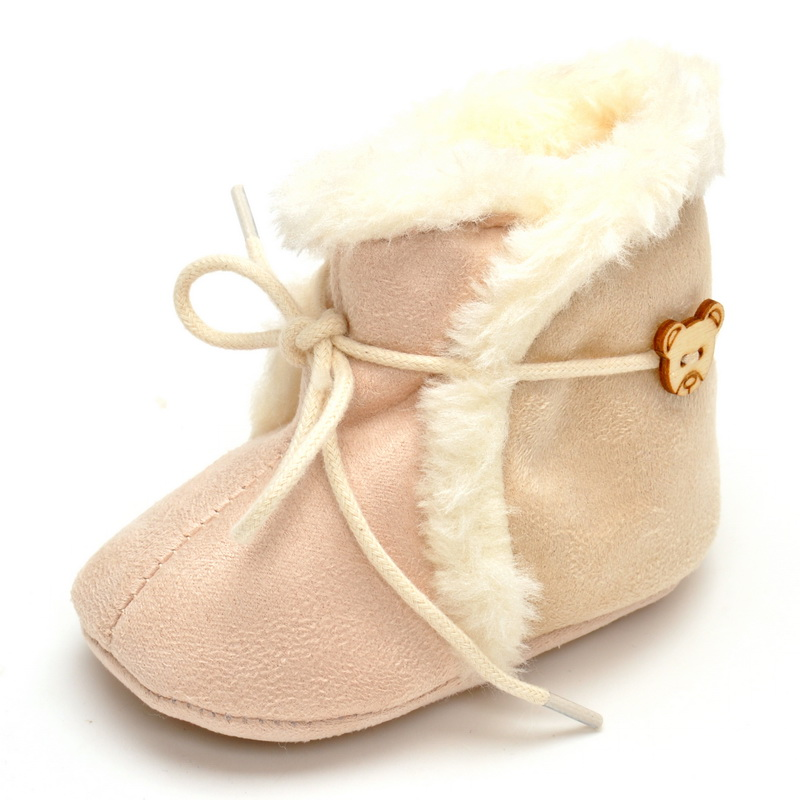 2017 Baby Boots Girls` Fashion Winter Baby Shoes First Walkers Fur Newborn Warm Booties Soft Bottom 0-18 months Infants Snow