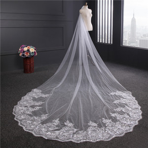 Image 3 - Voile Mariage 4M One Layer Lace Edge White Ivory Cathedral Wedding Veil Long Bridal Veil Cheap Wedding Accessories Veu de Noiva