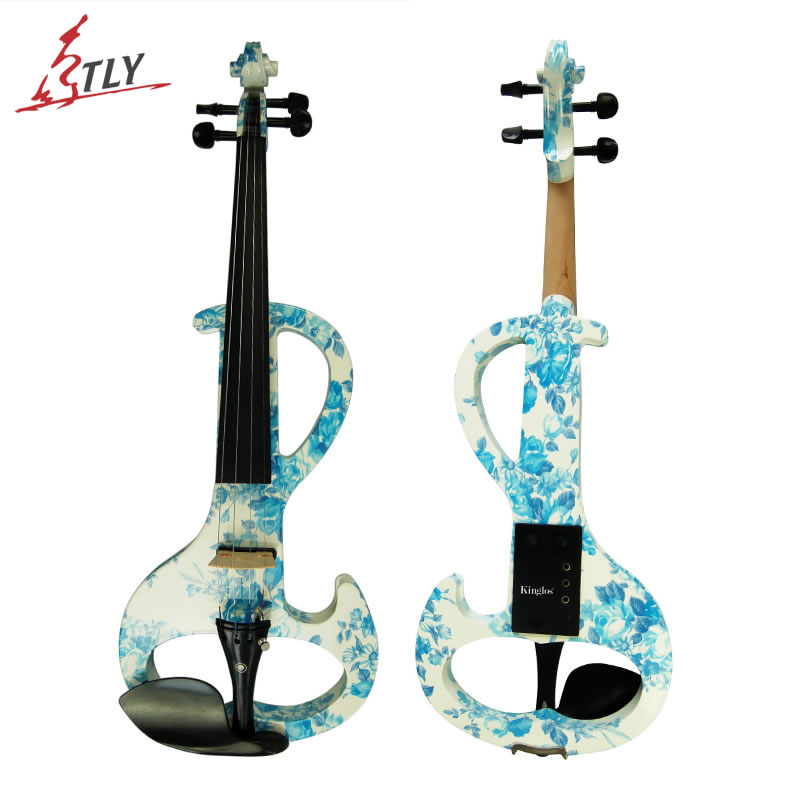 Intermedia-Uma Arte Elétrica Violino Kinglos Azul & Branco Pintado Acessórios de Ébano Madeira Maciça Violino Silencioso 4/4 w/partes