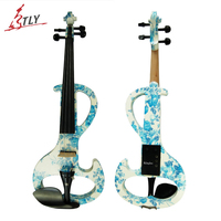 Kinglos Intermedia A Electric Art Violin Blue & White Painted Solid Wood Silent Violin 4/4 Ebony Fittings w/ Parts