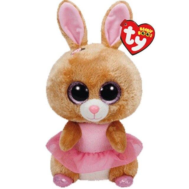 """Ty Vaias Gorro Animais Bonitos Coelho Amarelo Boneca de Brinquedo de Pelúcia de Presente de Natal 6 """"15 centímetros"""