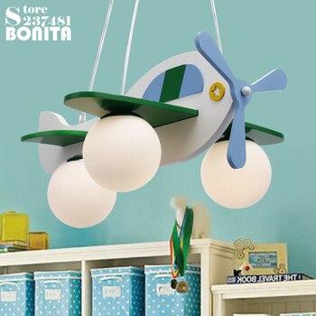 Children's room pendant lamp wood glass Cartoon airplane hanging lights Boys girls bedroom Kindergarten Aircraft LED lighting