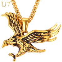 U7 Stainless Steel Eagle Necklace Men Jewelry Statement Gold Plated High Quality Animal Charm Pendant Necklace