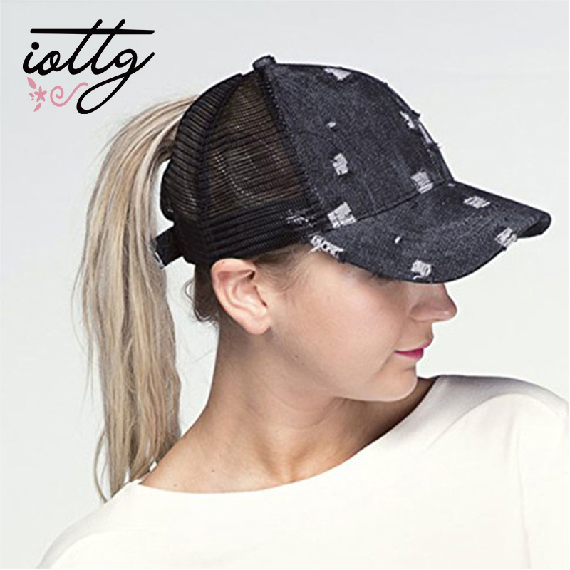 IOTTG 2018 CC Ponytail Baseball Caps Cowboy Trucker Cap Band Snapback Hat Fashion Messy Mesh Visor Sun Hats Adjustable For Women