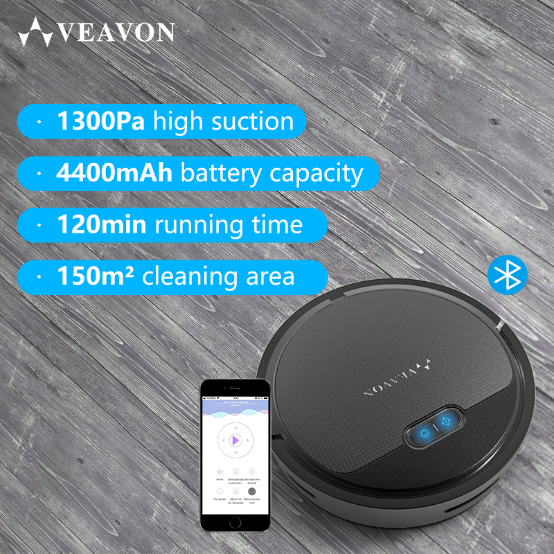 VEAVON V2 Robot Vacuum Cleaner By Wet and Dry 1300Pa Power Suction Vacuum Machine App Controls Self Charging in Vacuum Cleaners from Home Appliances