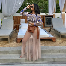 Summer Women Sheer Mesh Maxi Beach Dress Sexy See Through Pleated Long Skirt Boho Skirt Saia Longa Faldas High Waist Skirt sheer mesh insert zip back fishtail skirt
