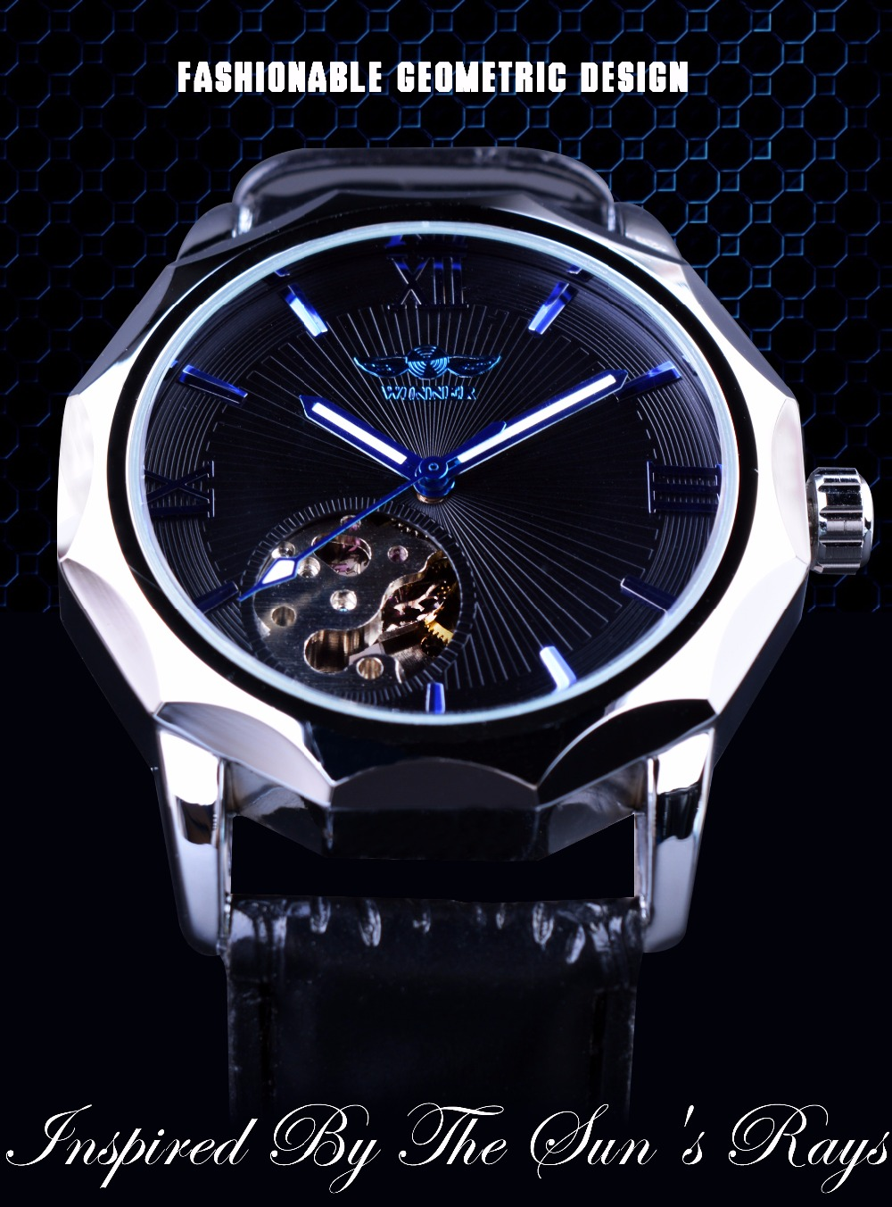winner blue ocean geometry design transparent skeleton dial men watch top brand luxury. Black Bedroom Furniture Sets. Home Design Ideas