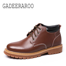Men's genuine leather boots shoes autumn winter casual shoes motorcycle boots fashion Zapatos Hombre sapato masculino #0300-1