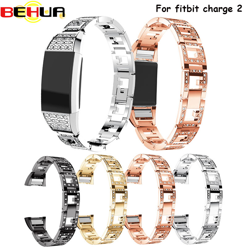 Crystal Stainless Steel Watch Band Wrist strap Smart Wristband Bracelet Wearable Belt Strap with Rhinestone For Fitbit charge 2