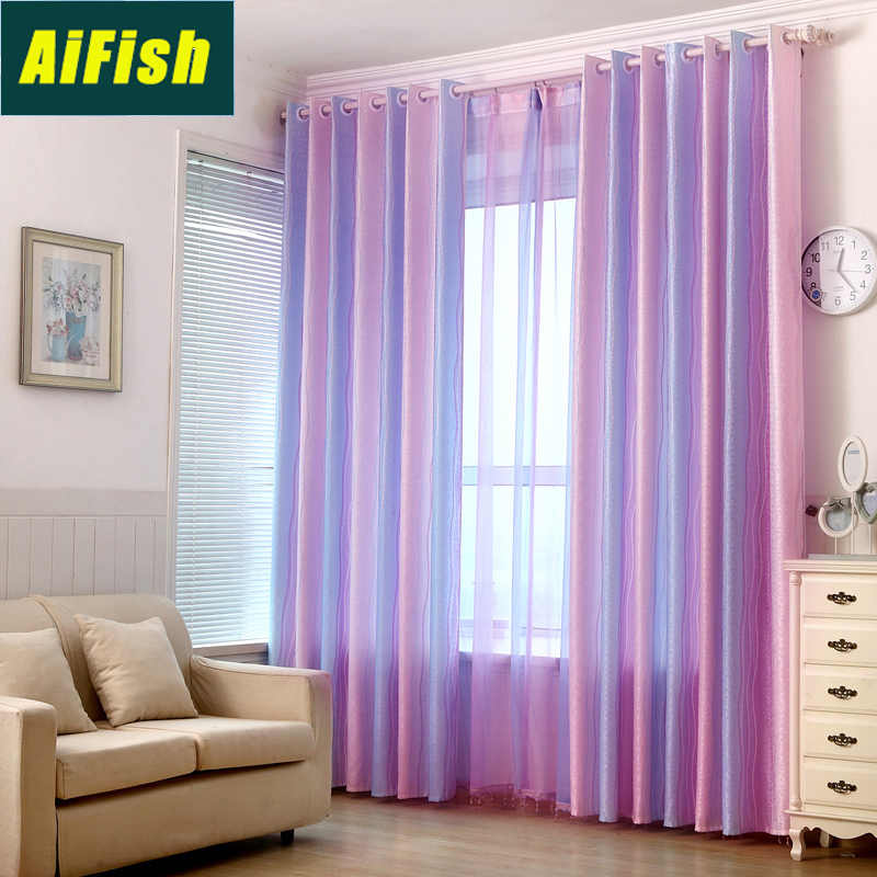 Colorful Stripes Semi Blackout Curtains and Tulle Drapes for Kids Room Window Treatment Curtains for Bedroom Living Room WP1492