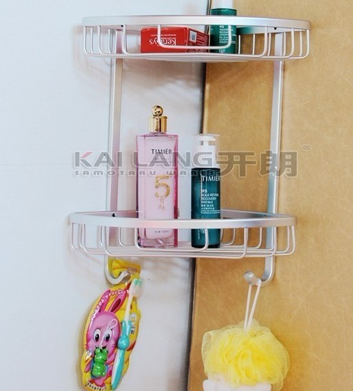 Aluminum 2 tier corner bathroom shelf wall cosmetic shelves holder with hooks bathroom fitting anti rust