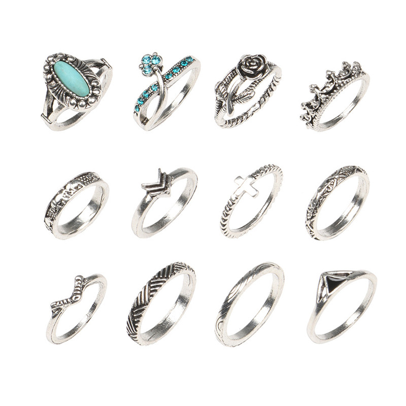 New Vintage Punk Antique Silver Color Bule Stone Crystal Midi Rings Set For Women Folower Cross Knuckle Ring Charm Jewelry
