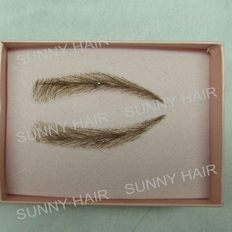 A pair of Hand Made Human Hair Eyebrow Fake Eyebrow 013 Light Brown Color Handmade Swiss