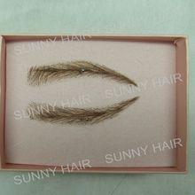 A pair of Hand Made Human Hair Eyebrow Fake Eyebrow 013 Light Brown Color Handmade Swiss Lace Invisible Reality Eyebrow