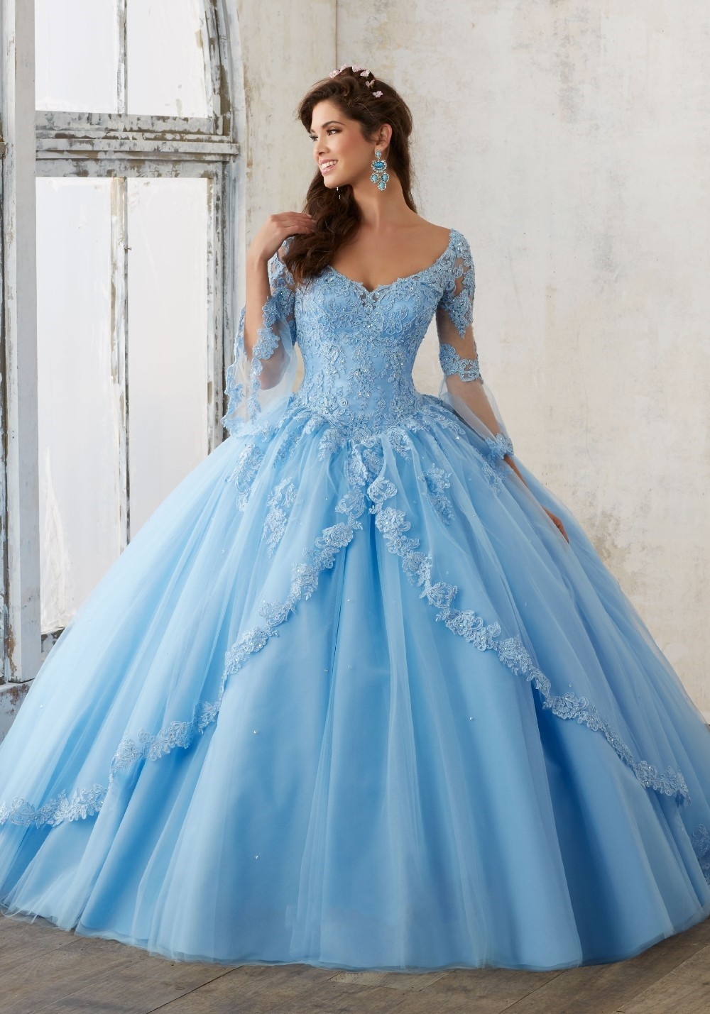 Long Sleeve Peach Pink Blue Quinceanera Dress Lace Ball Gown Sweet ...