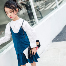 2017 autumn new children's dress children's harness dress suede girl dress harness children's  fashion vest dress