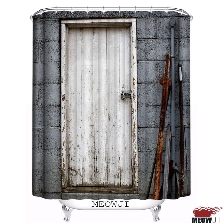 vintage gray tone wooden door printed custom shower curtain bathroom decor various sizes free shipping
