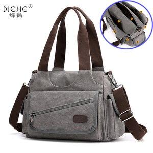 Image 1 - Холщовые дамские сумочки, повседневные Хобо на одно плечо, винтажные однотонные сумки через плечо с несколькими карманами для девушек