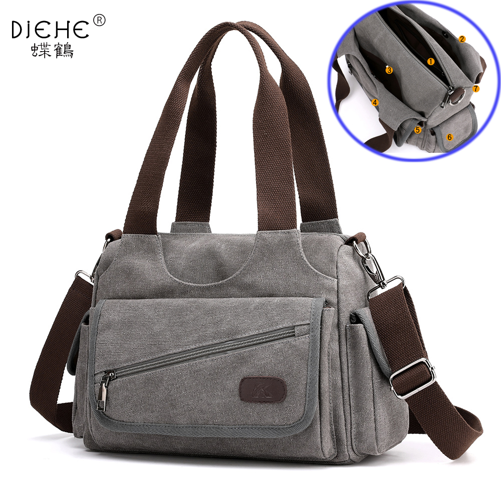 Woman Canvas Handbags Casual lady Hobos Single Shoulder Bags Girls Crossbody Pack Vintage Solid Multi pocket Ladies Totes BolsasTop-Handle Bags   -
