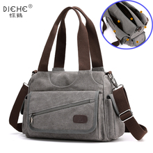 Woman Canvas Handbags Casual lady Hobos Single Shoulder Bags Girls Crossbody Pack Vintage Solid Multi pocket Ladies Totes Bolsas