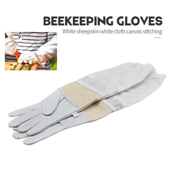 Marka biały z owczej skóry biała tkanina płótno szwy pszczoła rękawice wentylowane profesjonalne anty pszczoła dla pszczelarz ula tanie i dobre opinie Pszczelarstwo Rękawice Canvas White sheepskin and polyester cotton or canvas XL XXL XXXL Bee glove