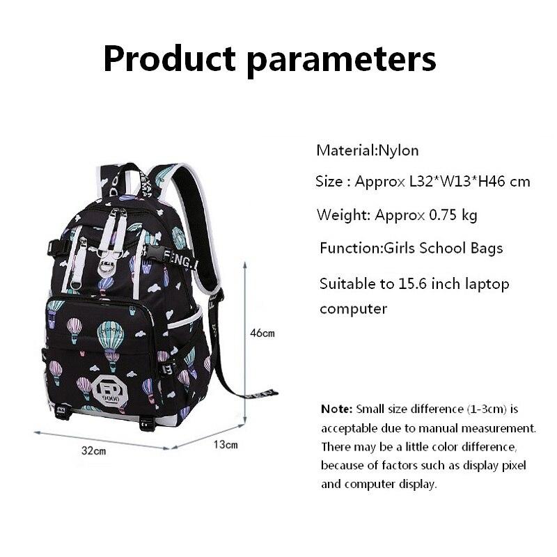 f67fb536796a5 Kobiet mody plecak szkolny usb torby szkolne dla dziewcząt czarny plecak  plusch piłka dziewczyna tornister Planety Czarny dekoracji w Kobiet mody  plecak ...