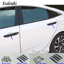 Car cover protection detector stick frame lamp trim ABS chrome hood door handle 8pcs For Honda Civic 10th Sedan 2016 2017 2018 for mitsubishi outlander 2016 2017 2018 car body cover protect detector sticks frame lamp trim abs chrome car door handle 8pcs