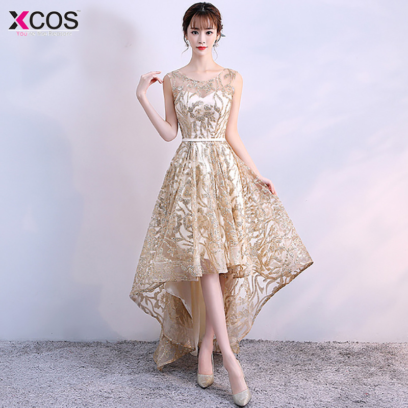 Gold Luxury Shiny Elegant Homecoming Dress 2019 Sexy Long High Low Evening Gown for Graduation Party Dresses